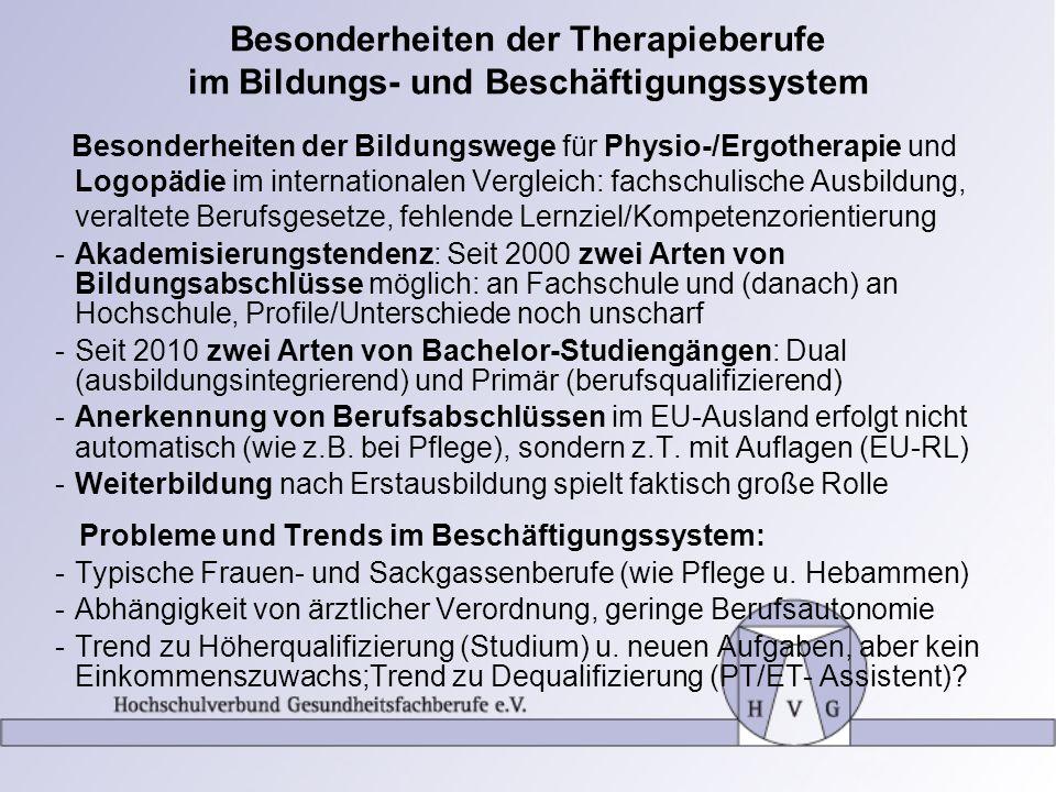 Besonderheiten der Therapieberufe im Bildungs- und Beschäftigungssystem Besonderheiten der Bildungswege für Physio-/Ergotherapie und Logopädie im inte