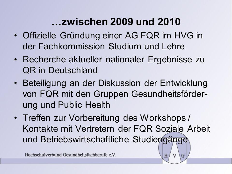 …zwischen 2009 und 2010 Offizielle Gründung einer AG FQR im HVG in der Fachkommission Studium und Lehre Recherche aktueller nationaler Ergebnisse zu Q