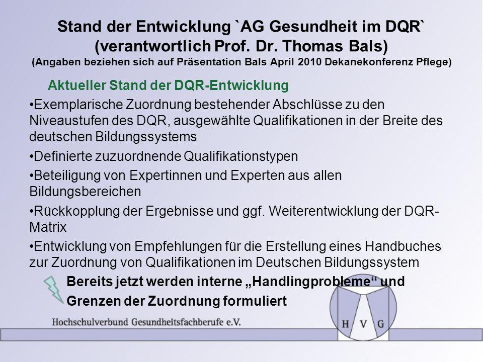 Stand der Entwicklung `AG Gesundheit im DQR` (verantwortlich Prof. Dr. Thomas Bals) (Angaben beziehen sich auf Präsentation Bals April 2010 Dekanekonf