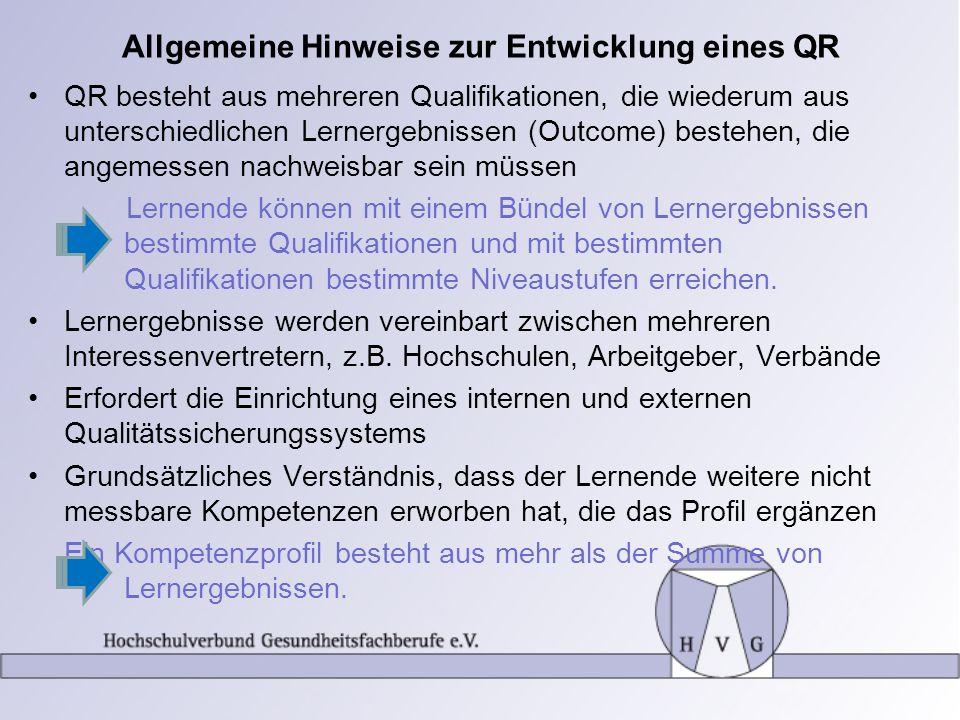 Allgemeine Hinweise zur Entwicklung eines QR QR besteht aus mehreren Qualifikationen, die wiederum aus unterschiedlichen Lernergebnissen (Outcome) bes