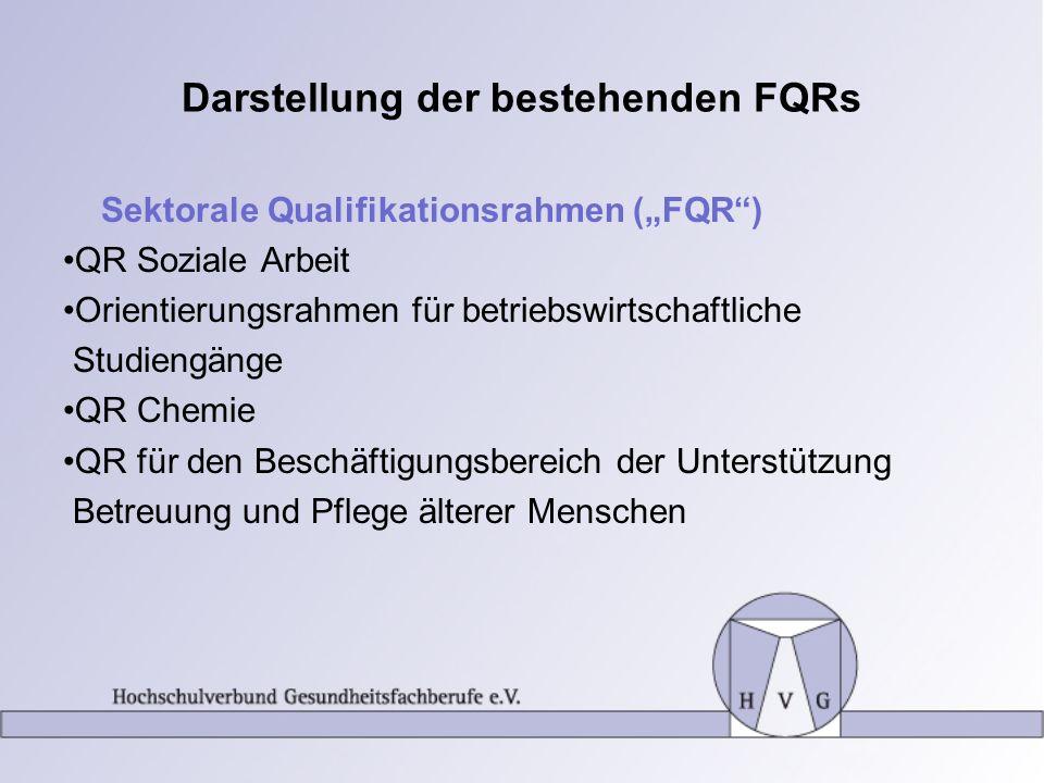Darstellung der bestehenden FQRs Sektorale Qualifikationsrahmen (FQR) QR Soziale Arbeit Orientierungsrahmen für betriebswirtschaftliche Studiengänge Q