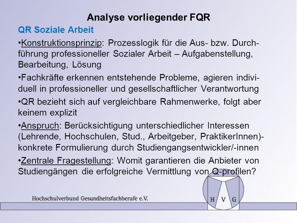 Analyse vorliegender FQR QR Soziale Arbeit Konstruktionsprinzip: Prozesslogik für die Aus- bzw. Durch- führung professioneller Sozialer Arbeit – Aufga