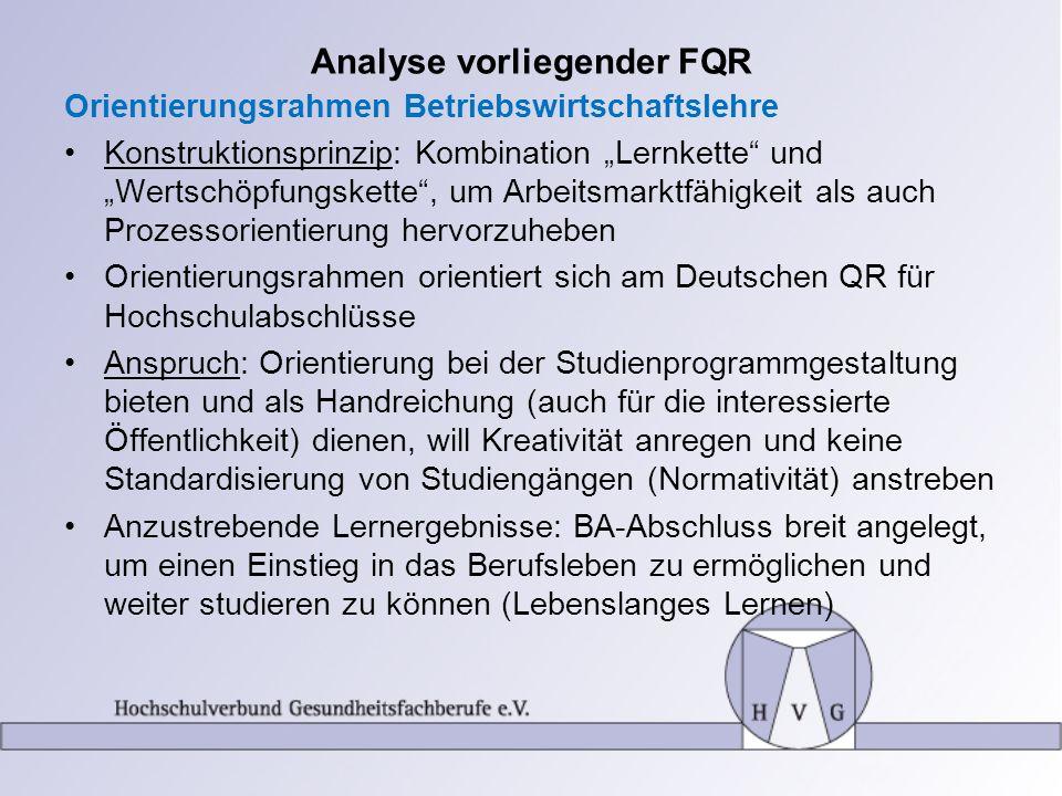 Analyse vorliegender FQR Orientierungsrahmen Betriebswirtschaftslehre Konstruktionsprinzip: Kombination Lernkette und Wertschöpfungskette, um Arbeitsm