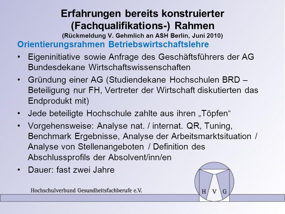 Erfahrungen bereits konstruierter (Fachqualifikations-) Rahmen (Rückmeldung V. Gehmlich an ASH Berlin, Juni 2010) Orientierungsrahmen Betriebswirtscha