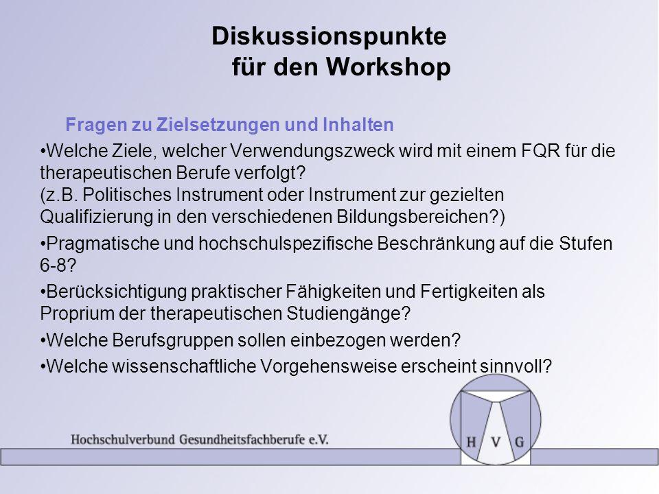 Diskussionspunkte für den Workshop Fragen zu Zielsetzungen und Inhalten Welche Ziele, welcher Verwendungszweck wird mit einem FQR für die therapeutisc