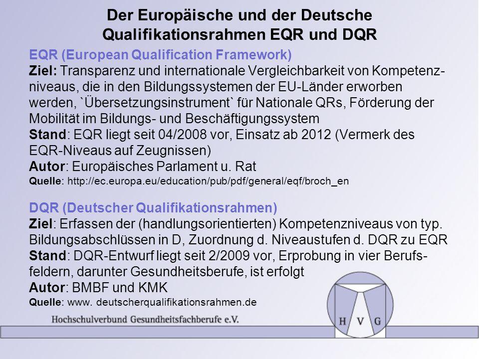 Der Europäische und der Deutsche Qualifikationsrahmen EQR und DQR EQR (European Qualification Framework) Ziel: Transparenz und internationale Vergleic