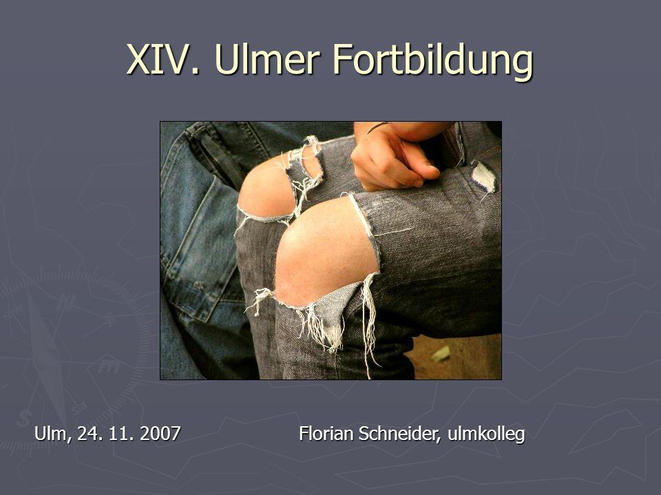 XIV. Ulmer Fortbildung Ulm, 24. 11. 2007Florian Schneider, ulmkolleg