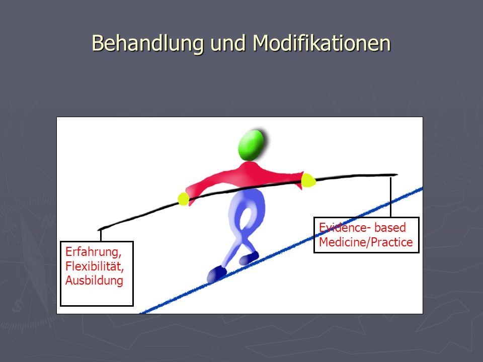 Behandlung und Modifikationen Evidence- based Medicine/Practice Erfahrung, Flexibilität, Ausbildung