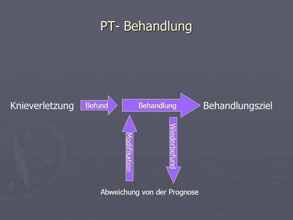 PT- Behandlung Knieverletzung Behandlung Behandlungsziel Wiederbefund Abweichung von der Prognose Modifikation Befund