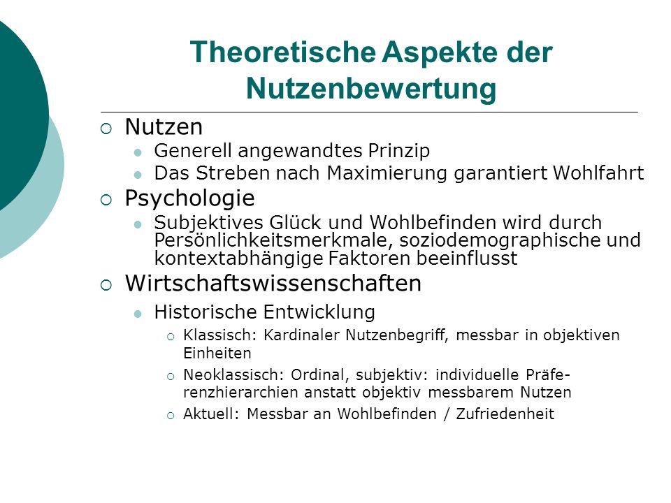 Theoretische Aspekte der Nutzenbewertung Nutzen Generell angewandtes Prinzip Das Streben nach Maximierung garantiert Wohlfahrt Psychologie Subjektives