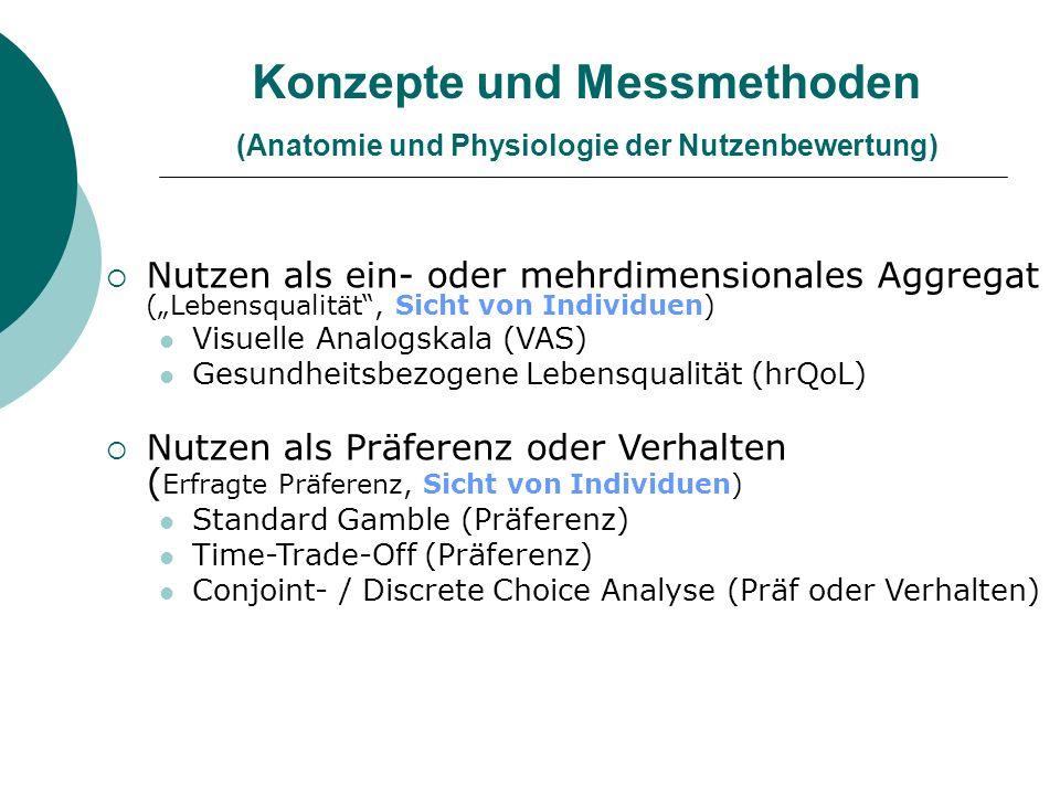 Konzepte und Messmethoden (Anatomie und Physiologie der Nutzenbewertung) Nutzen als ein- oder mehrdimensionales Aggregat (Lebensqualität, Sicht von In