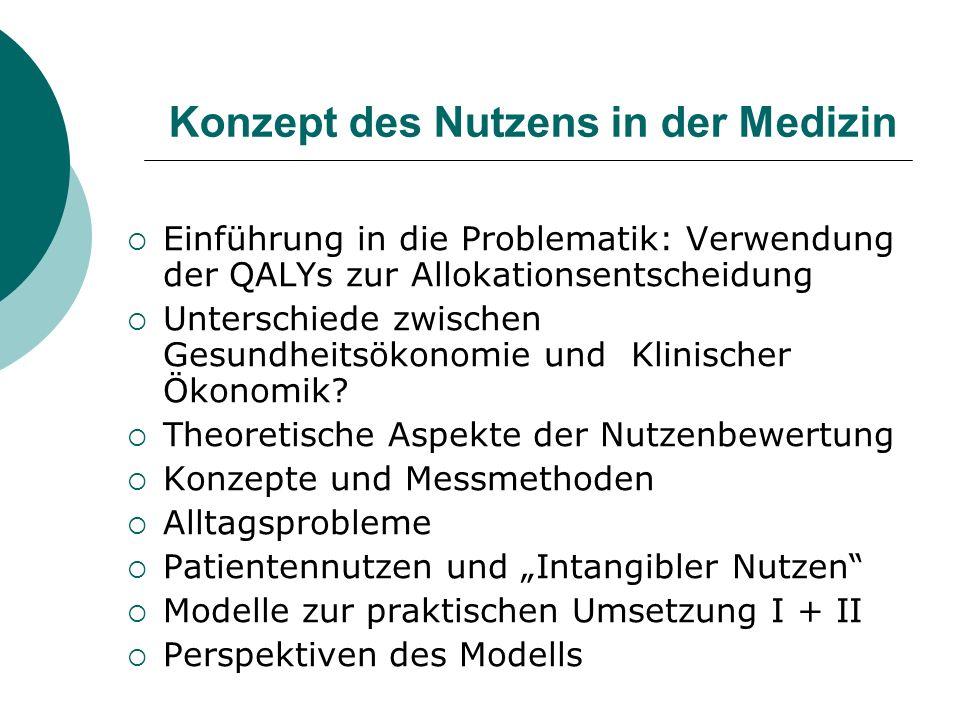 Konzept des Nutzens in der Medizin Einführung in die Problematik: Verwendung der QALYs zur Allokationsentscheidung Unterschiede zwischen Gesundheitsök