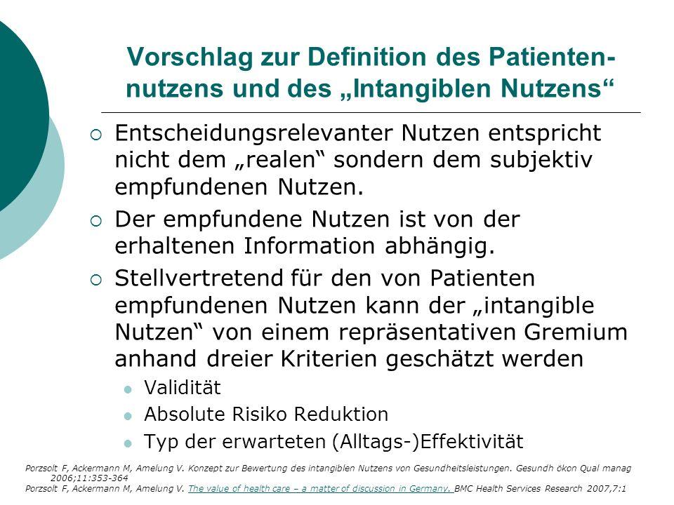 Vorschlag zur Definition des Patienten- nutzens und des Intangiblen Nutzens Entscheidungsrelevanter Nutzen entspricht nicht dem realen sondern dem sub
