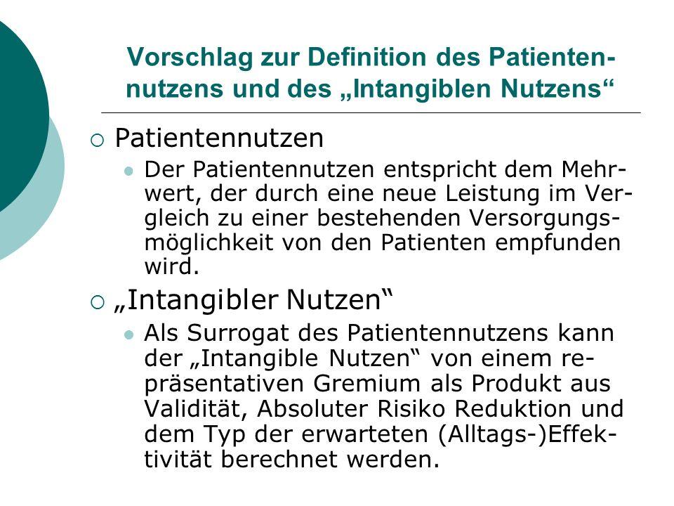 Vorschlag zur Definition des Patienten- nutzens und des Intangiblen Nutzens Patientennutzen Der Patientennutzen entspricht dem Mehr- wert, der durch e