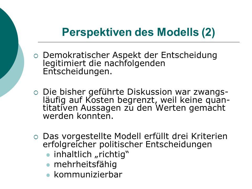 Perspektiven des Modells (2) Demokratischer Aspekt der Entscheidung legitimiert die nachfolgenden Entscheidungen. Die bisher geführte Diskussion war z