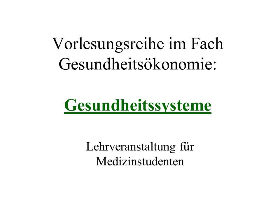 Vorlesungsreihe im Fach Gesundheitsökonomie: Gesundheitssysteme Lehrveranstaltung für Medizinstudenten