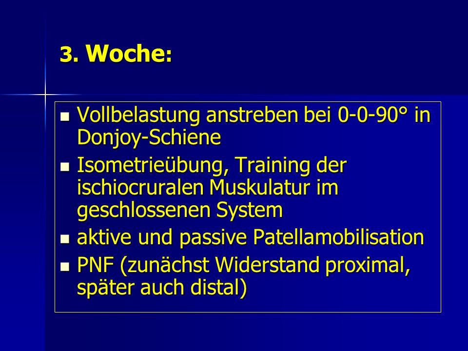3. Woche : Vollbelastung anstreben bei 0-0-90° in Donjoy-Schiene Vollbelastung anstreben bei 0-0-90° in Donjoy-Schiene Isometrieübung, Training der is