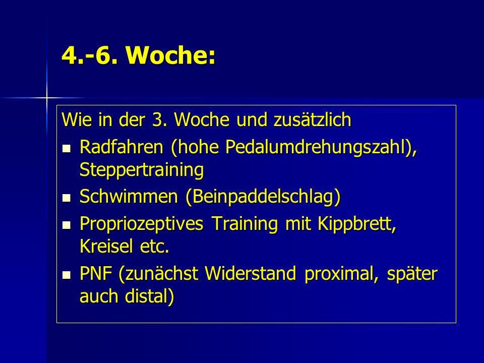 4.-6. Woche: Wie in der 3. Woche und zusätzlich Radfahren (hohe Pedalumdrehungszahl), Steppertraining Radfahren (hohe Pedalumdrehungszahl), Steppertra