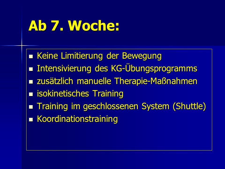Ab 7. Woche: Keine Limitierung der Bewegung Keine Limitierung der Bewegung Intensivierung des KG-Übungsprogramms Intensivierung des KG-Übungsprogramms