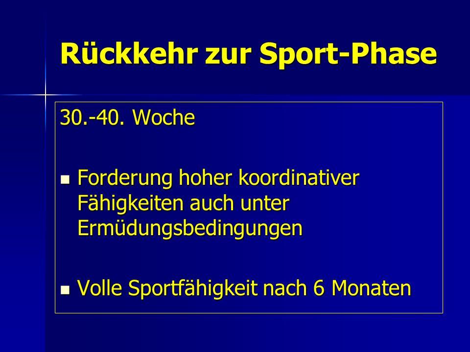 Rückkehr zur Sport-Phase 30.-40. Woche Forderung hoher koordinativer Fähigkeiten auch unter Ermüdungsbedingungen Forderung hoher koordinativer Fähigke