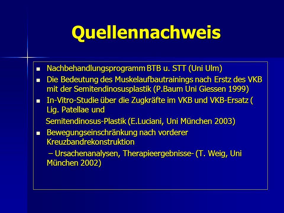 Quellennachweis Quellennachweis Nachbehandlungsprogramm BTB u. STT (Uni Ulm) Nachbehandlungsprogramm BTB u. STT (Uni Ulm) Die Bedeutung des Muskelaufb