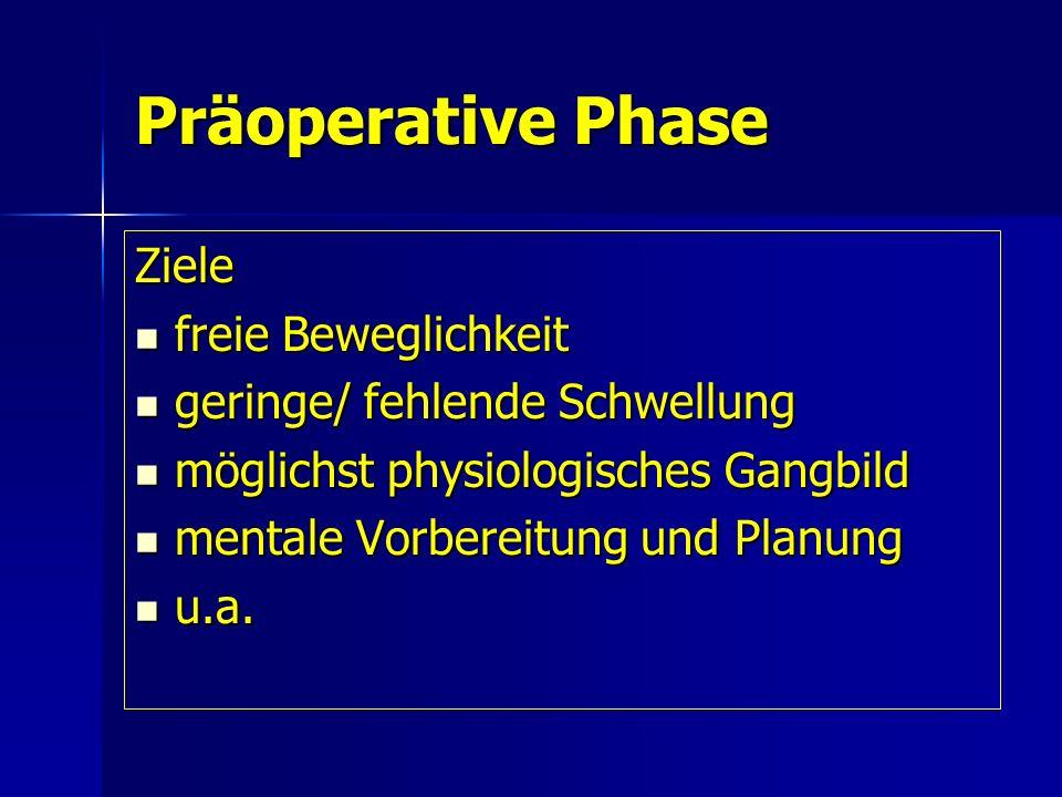 Präoperative Phase Ziele freie Beweglichkeit freie Beweglichkeit geringe/ fehlende Schwellung geringe/ fehlende Schwellung möglichst physiologisches G