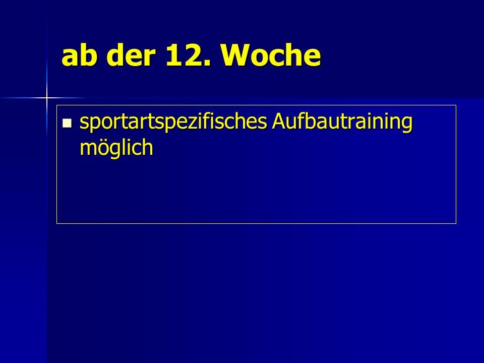 ab der 12. Woche sportartspezifisches Aufbautraining möglich sportartspezifisches Aufbautraining möglich