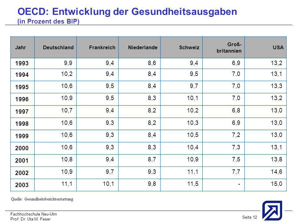 Fachhochschule Neu-Ulm Prof. Dr. Uta M. Feser Seite 12 Jahr Deutschland Frankreich Niederlande Schweiz Groß- britannien USA 1993 9,9 9,4 8,6 9,4 6,9 1