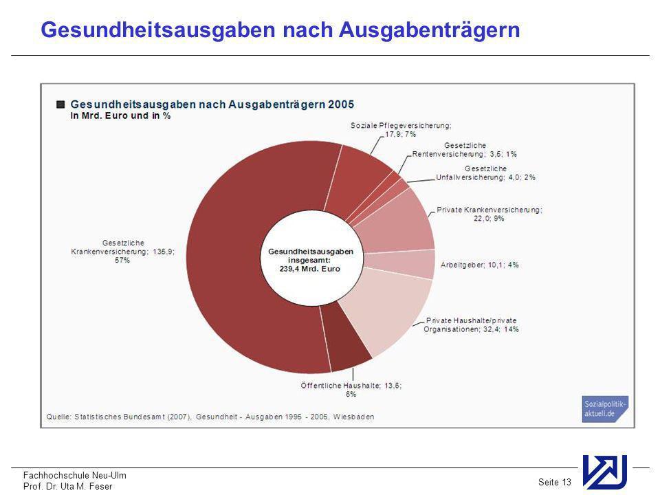 Fachhochschule Neu-Ulm Prof. Dr. Uta M. Feser Seite 13 Gesundheitsausgaben nach Ausgabenträgern