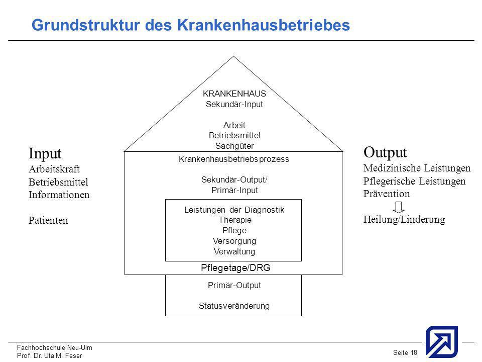 Fachhochschule Neu-Ulm Prof. Dr. Uta M. Feser Seite 18 KRANKENHAUS Sekundär-Input Arbeit Betriebsmittel Sachgüter Krankenhausbetriebsprozess Sekundär-