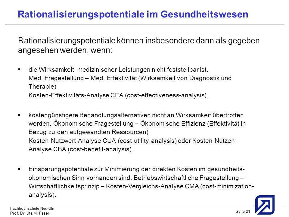Fachhochschule Neu-Ulm Prof. Dr. Uta M. Feser Seite 21 die Wirksamkeit medizinischer Leistungen nicht feststellbar ist. Med. Fragestellung – Med. Effe