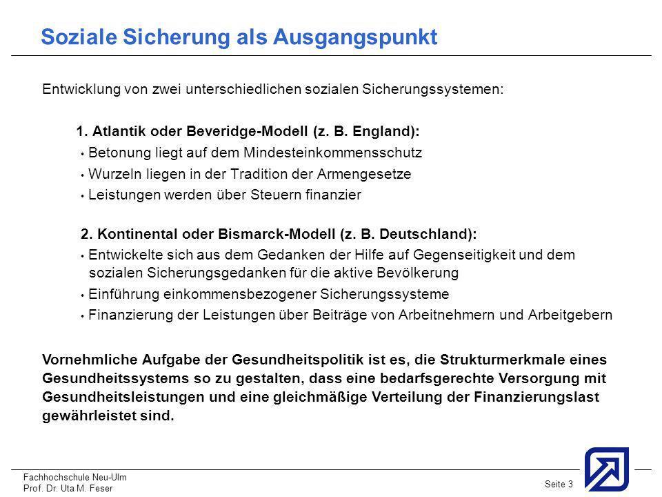 Fachhochschule Neu-Ulm Prof. Dr. Uta M. Feser Seite 3 Soziale Sicherung als Ausgangspunkt Entwicklung von zwei unterschiedlichen sozialen Sicherungssy