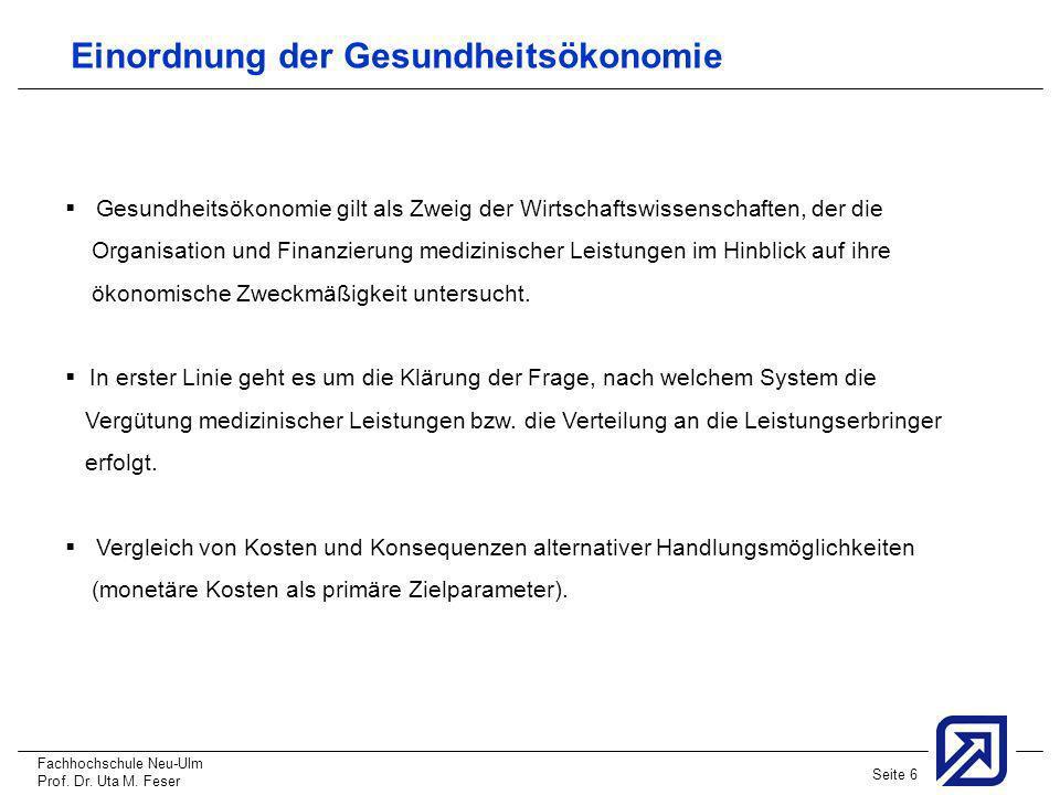 Fachhochschule Neu-Ulm Prof. Dr. Uta M. Feser Seite 6 Einordnung der Gesundheitsökonomie Gesundheitsökonomie gilt als Zweig der Wirtschaftswissenschaf