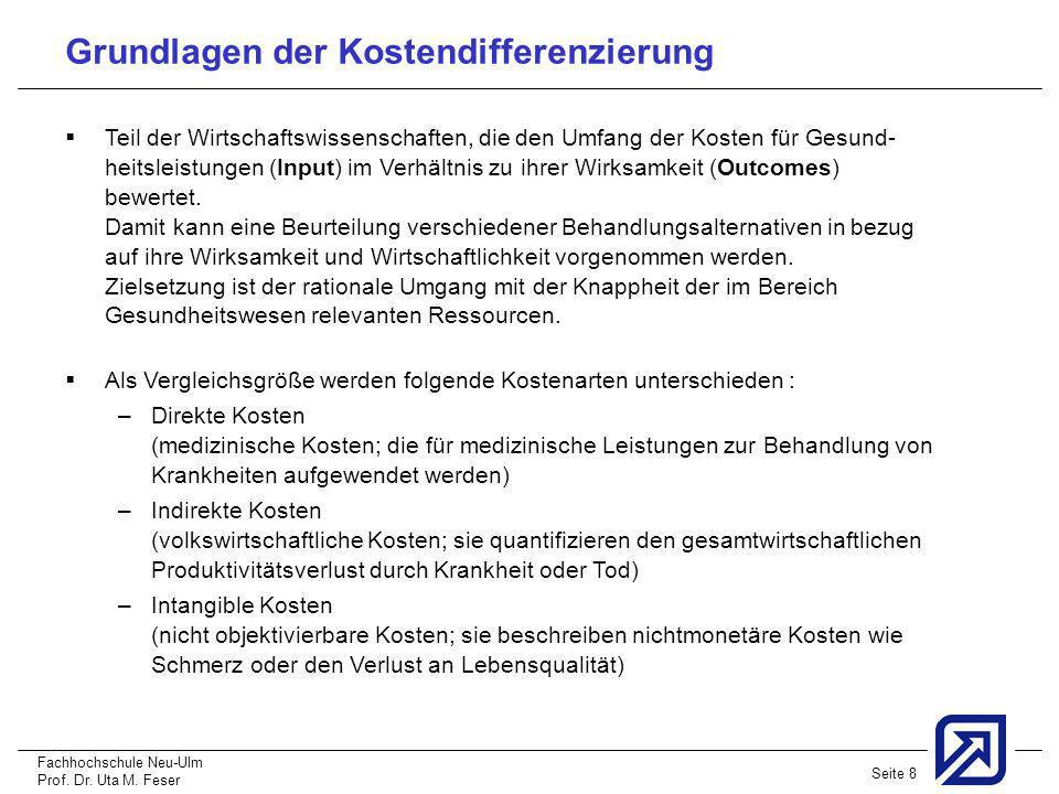Fachhochschule Neu-Ulm Prof. Dr. Uta M. Feser Seite 8 Grundlagen der Kostendifferenzierung Teil der Wirtschaftswissenschaften, die den Umfang der Kost