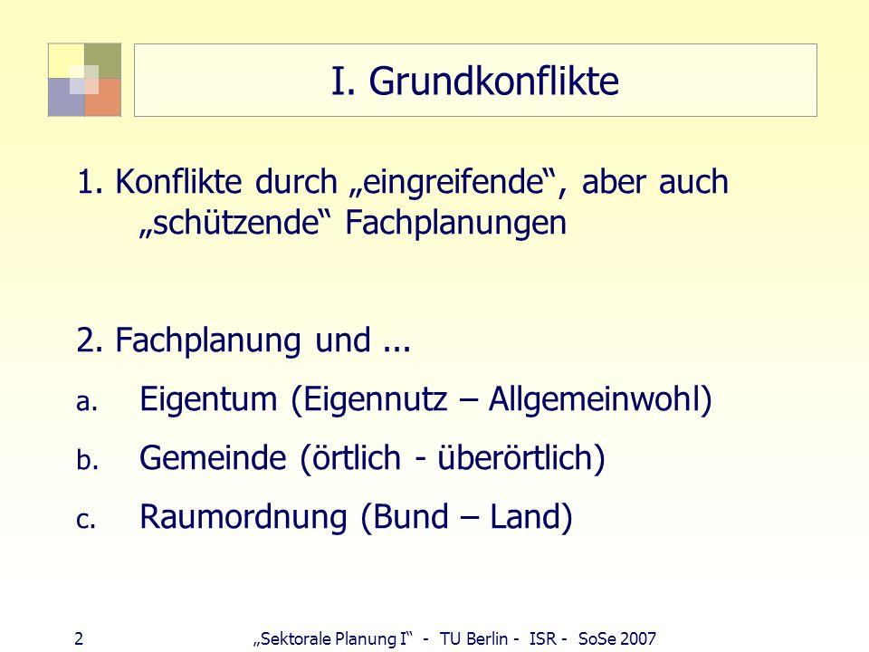 23 Sektorale Planung I - TU Berlin - ISR - SoSe 2007 Fachplanungsprivileg ggü RO § 5 ROG besondere Bundesmaßnahmen bestimmter Standort, bestimmte Linienführung notwendig.