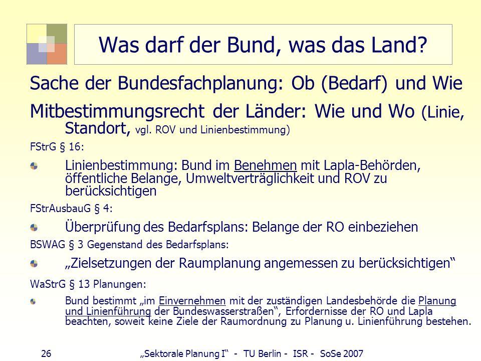 26 Sektorale Planung I - TU Berlin - ISR - SoSe 2007 Was darf der Bund, was das Land? Sache der Bundesfachplanung: Ob (Bedarf) und Wie Mitbestimmungsr