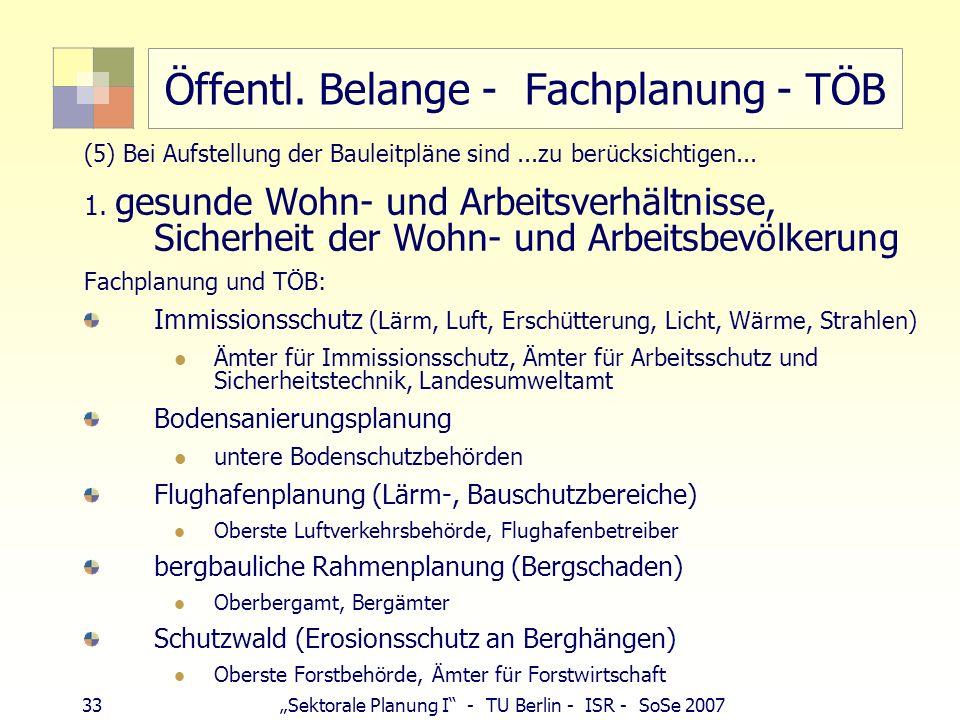 33 Sektorale Planung I - TU Berlin - ISR - SoSe 2007 Öffentl. Belange - Fachplanung - TÖB (5) Bei Aufstellung der Bauleitpläne sind...zu berücksichtig
