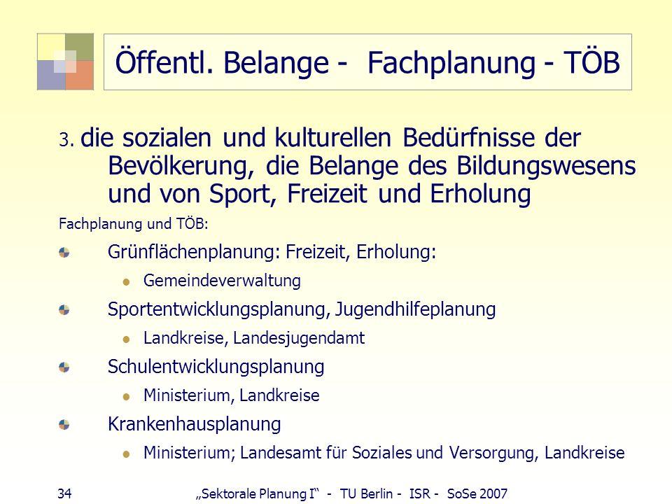 34 Sektorale Planung I - TU Berlin - ISR - SoSe 2007 Öffentl. Belange - Fachplanung - TÖB 3. die sozialen und kulturellen Bedürfnisse der Bevölkerung,