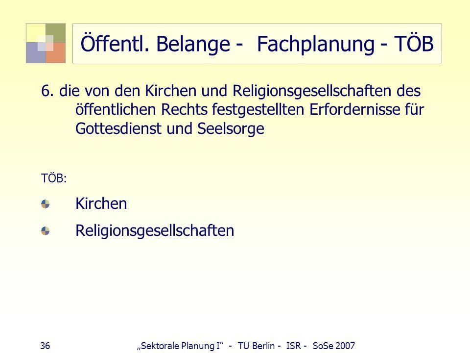 36 Sektorale Planung I - TU Berlin - ISR - SoSe 2007 Öffentl. Belange - Fachplanung - TÖB 6. die von den Kirchen und Religionsgesellschaften des öffen