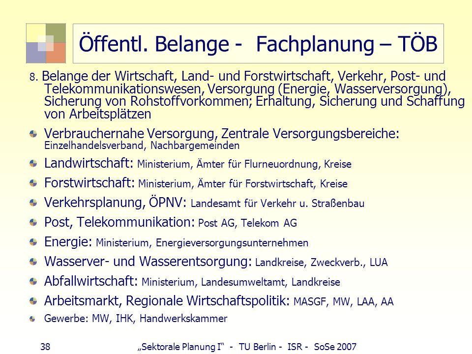38 Sektorale Planung I - TU Berlin - ISR - SoSe 2007 Öffentl. Belange - Fachplanung – TÖB 8. Belange der Wirtschaft, Land- und Forstwirtschaft, Verkeh