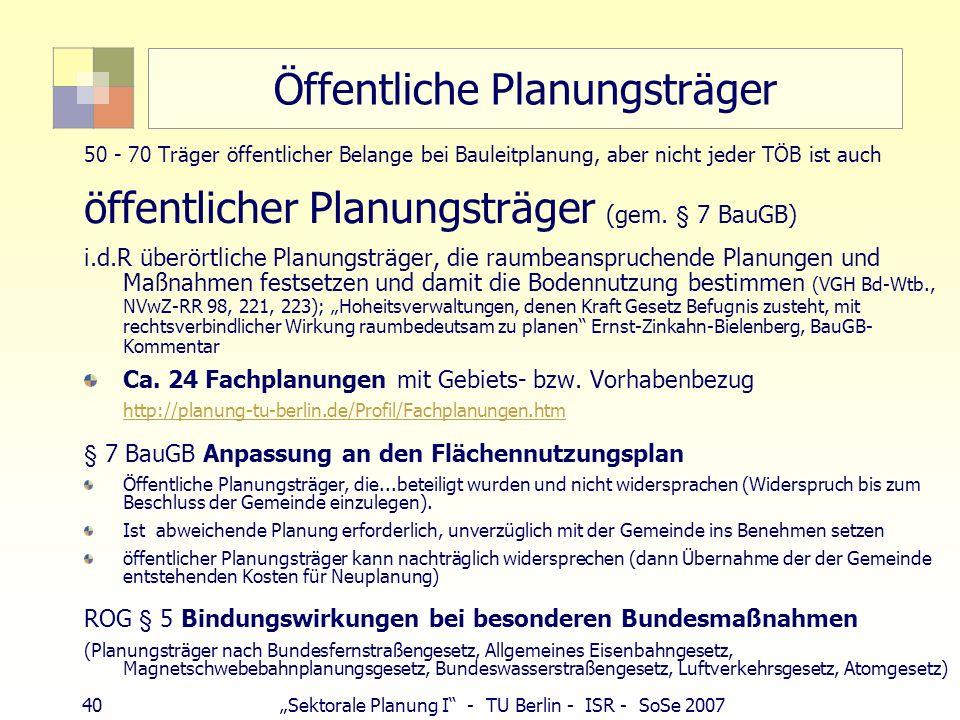 40 Sektorale Planung I - TU Berlin - ISR - SoSe 2007 Öffentliche Planungsträger 50 - 70 Träger öffentlicher Belange bei Bauleitplanung, aber nicht jed
