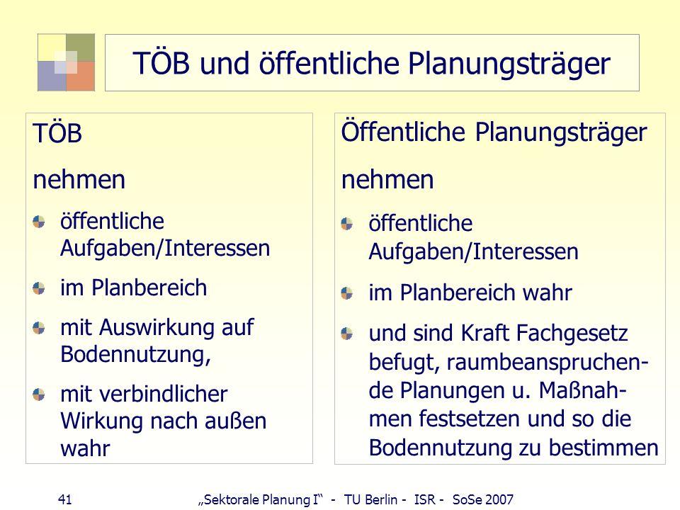 41 Sektorale Planung I - TU Berlin - ISR - SoSe 2007 TÖB und öffentliche Planungsträger TÖB nehmen öffentliche Aufgaben/Interessen im Planbereich mit