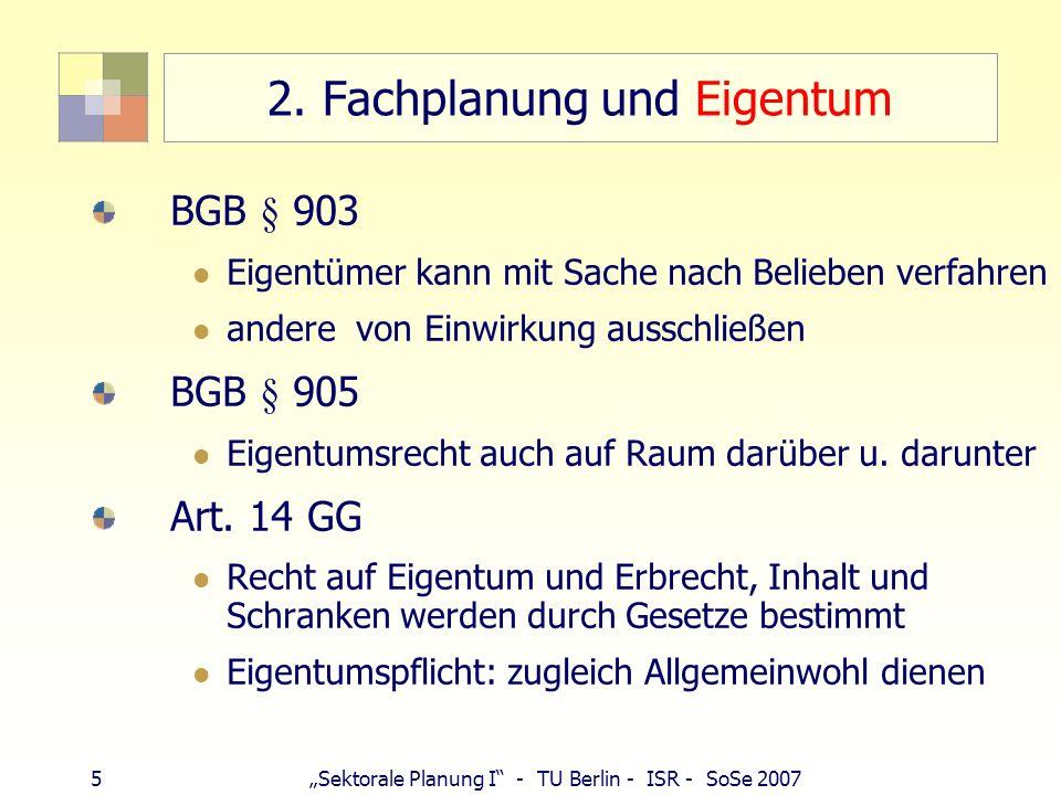 6 Sektorale Planung I - TU Berlin - ISR - SoSe 2007 Schranken und Allgemeinwohl Schatzsucher (Berggesetz, bergfrei, grundfrei) Windmüller (LuftVG, Bauschutzbereich) Bauhausfan (Denkmalschutz) Campingplatzbetreiber (Wasserschutz) Antennenbetreiber (NatSchG, Abgabe 50-700 Euro je Meter) Waldeigentümer mit Großauftrag (Waldgesetz) Bodenverbundener (Flurbereinigung) Landwirt (militär.