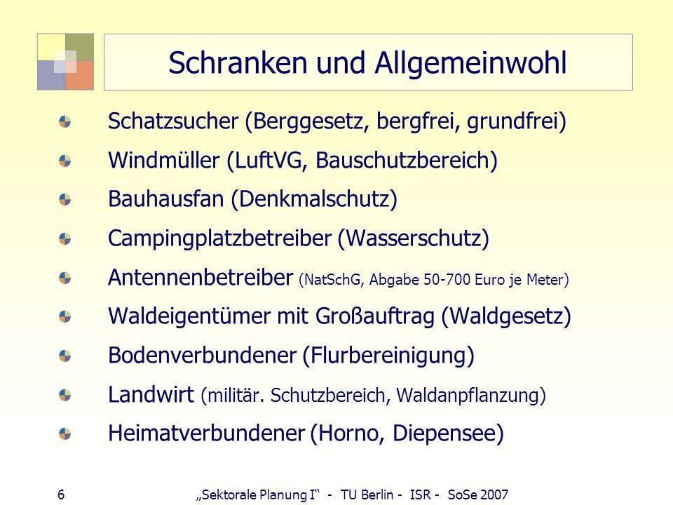 17 Sektorale Planung I - TU Berlin - ISR - SoSe 2007 Beispiel: Bauleitplanung auf Bahnflächen Bahn: (planfestgestellte Bahnflächen, Fachplanungsinseln unterfallen keiner kommunalen Planungshoheit, Funktionslosigkeit bahnrechtlicher Planfeststellung, Vivico als Stadtentwickler Berlins) Verwertungsinteresse (Eisenbahnneuordnungsgesetz 1993: gesetzlicher Auftrag, nicht mehr für Eisenbahnzwecke benötigte Grundstücke zur Finanzierung der Eisenbahn des Bundes zu verwerten (öffentlicher Belang); Interessen des Eigentümers DB AG privater Belang; möglichst hoher Bodenwert bei Verkauf ehemaliger Bahngrundstücke, Art und Maß der Nutzung, Antrag auf Entwidmung beim EBA erst nach Einvernehmen über Bauleitplanung) Gemeinde: Bsp.