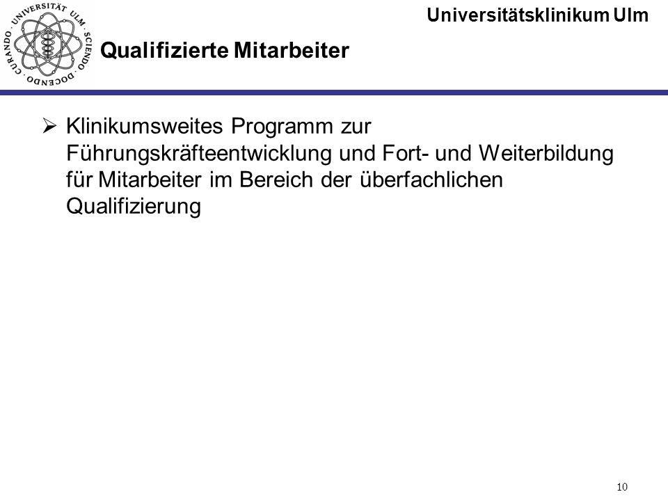 Universitätsklinikum Ulm Seite #10 Qualifizierte Mitarbeiter Klinikumsweites Programm zur Führungskräfteentwicklung und Fort- und Weiterbildung für Mi