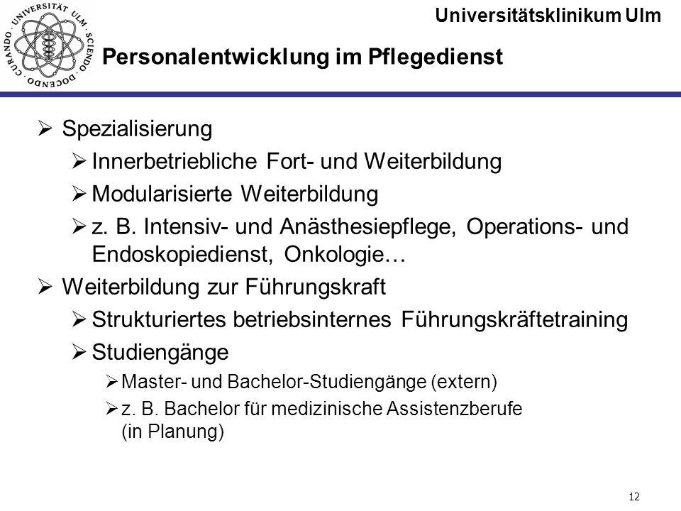Universitätsklinikum Ulm Seite #12 Personalentwicklung im Pflegedienst Spezialisierung Innerbetriebliche Fort- und Weiterbildung Modularisierte Weiter