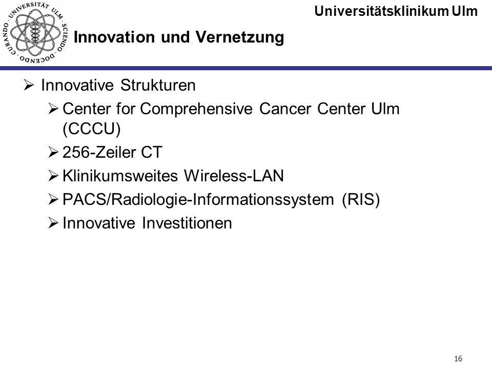 Universitätsklinikum Ulm Seite #16 Innovation und Vernetzung Innovative Strukturen Center for Comprehensive Cancer Center Ulm (CCCU) 256-Zeiler CT Kli