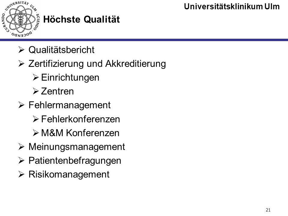 Universitätsklinikum Ulm Seite #21 Höchste Qualität Qualitätsbericht Zertifizierung und Akkreditierung Einrichtungen Zentren Fehlermanagement Fehlerko