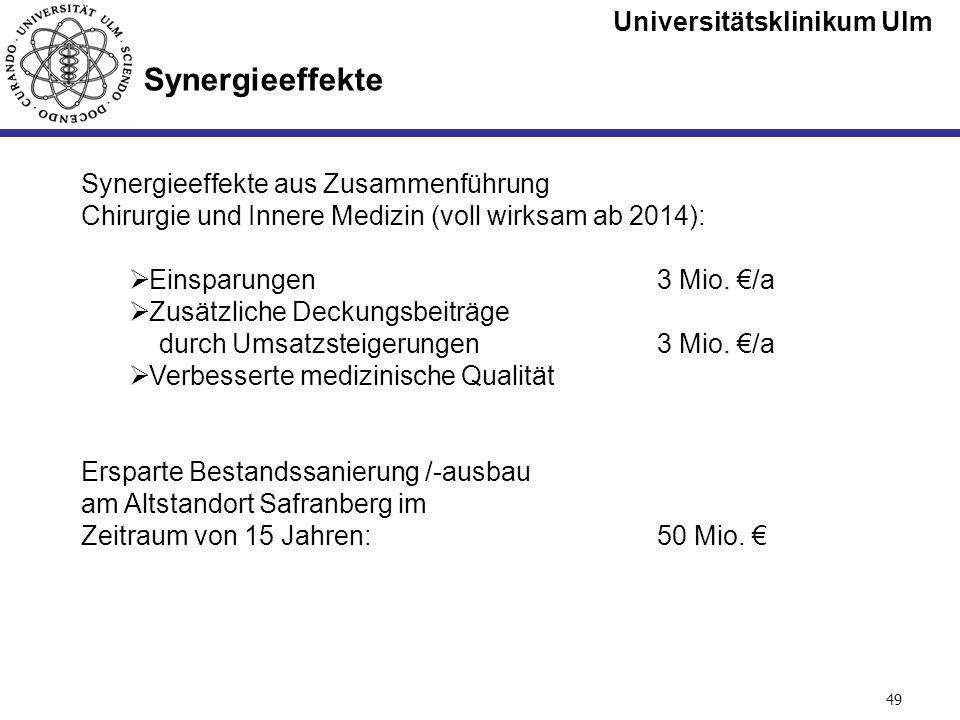 Universitätsklinikum Ulm Seite #49 Synergieeffekte aus Zusammenführung Chirurgie und Innere Medizin (voll wirksam ab 2014): Einsparungen3 Mio. /a Zusä