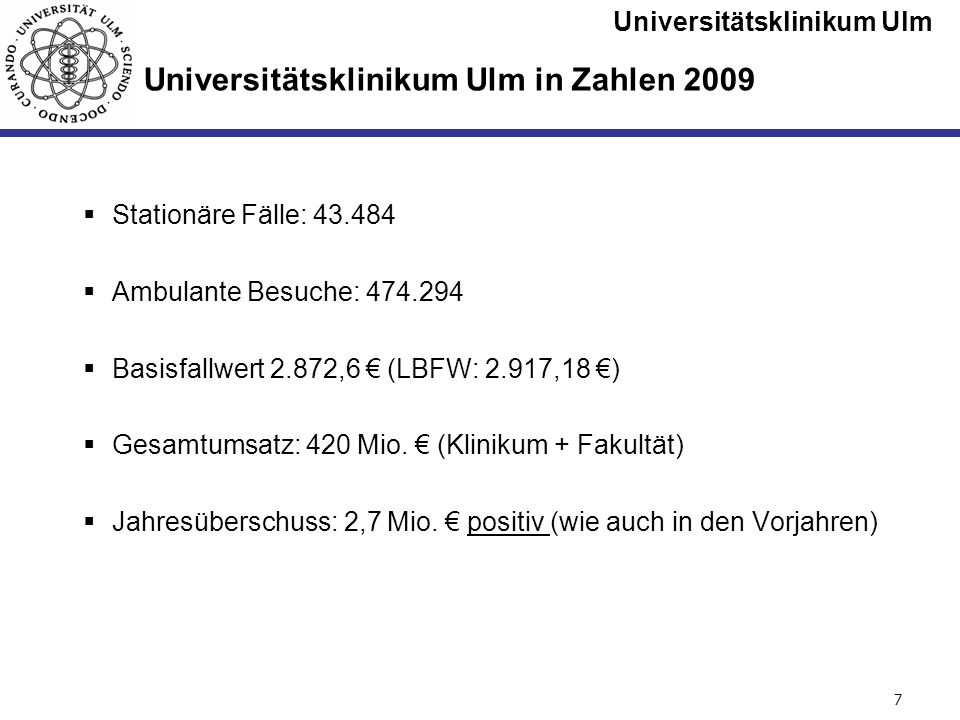 Universitätsklinikum Ulm Seite #8 Das Universitätsklinikum und die Medizinische Fakultät Ulm (ohne Vorklinik) 5.438 Mitarbeiter einschl.